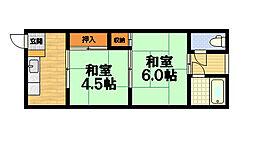 南郷マンション 東[2階]の間取り