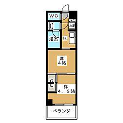 グランド・ガーラ東大島 6階2Kの間取り