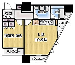 プライムアーバン新宿夏目坂タワーレジデンス 12階1LDKの間取り