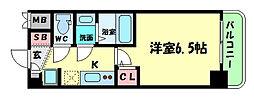 Osaka Metro谷町線 谷町四丁目駅 徒歩5分の賃貸マンション 2階1Kの間取り