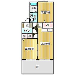 愛知県名古屋市中川区戸田5丁目の賃貸アパートの間取り
