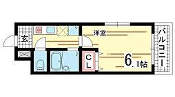 兵庫県神戸市長田区菅原通3丁目の賃貸マンションの間取り