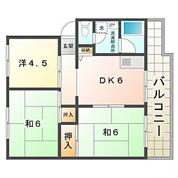 KNハイツ[4階]の間取り
