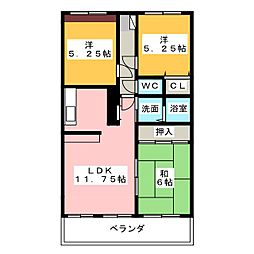 シャトー勝川II 305[3階]の間取り