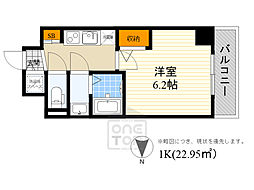 阪急千里線 豊津駅 徒歩8分の賃貸マンション 7階1Kの間取り