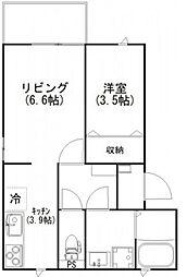 JR山陽本線 横川駅 徒歩4分の賃貸アパート 1階1LDKの間取り