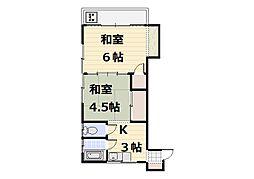 北田フラワーハウス[106号室]の間取り