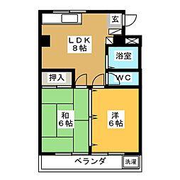 ベルヴイハウス 2階2LDKの間取り