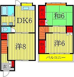 [テラスハウス] 千葉県柏市豊住2丁目 の賃貸【千葉県 / 柏市】の間取り