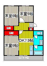 原マンション[3階]の間取り