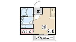 神戸高速東西線 西代駅 徒歩21分の賃貸アパート 1階ワンルームの間取り