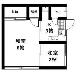 東京都世田谷区桜新町2丁目の賃貸アパートの間取り