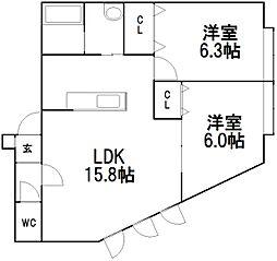北海道札幌市手稲区手稲本町三条3丁目の賃貸アパートの間取り