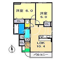 メゾンブローテ F棟[1階]の間取り