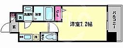 エグゼ難波西II 9階1Kの間取り
