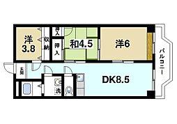 奈良県生駒市東菜畑1丁目の賃貸マンションの間取り