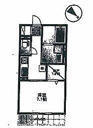 JR山陽本線 姫路駅 徒歩7分の賃貸アパート 1階1Kの間取り