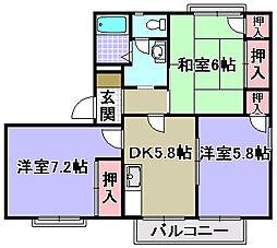 シャンボール角谷2[2階]の間取り