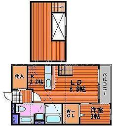 JR山陽本線 庭瀬駅 徒歩14分の賃貸アパート 2階1DKの間取り