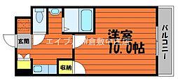 JR山陽本線 新倉敷駅 徒歩6分の賃貸マンション 4階1Kの間取り