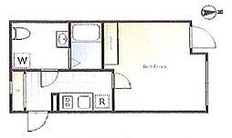 アレーロ湯島ノース 2階ワンルームの間取り