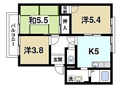 サニーコート観世B[1階]の間取り