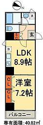 シーネクス千代田岩本町 9階1LDKの間取り