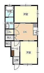 JR山形新幹線 山形駅 バス16分 北高前下車 徒歩1分の賃貸アパート 1階2Kの間取り