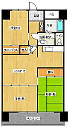 グリーンパークツルハ[4階]の間取り
