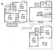 8号区 参考プラン 全室6帖以上の大型5LDK駐車場プランです。