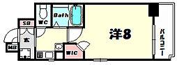 エステムコート三宮山手2ソアーレ 13階1Kの間取り
