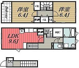 JR成田線 成田駅 バス21分 宮下下車 徒歩2分の賃貸アパート 2階2LDKの間取り