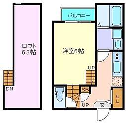 JR仙山線 東照宮駅 徒歩10分の賃貸アパート 1階1Kの間取り