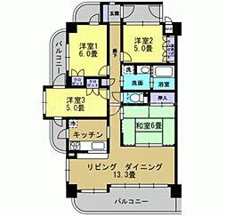 香川県高松市上之町3丁目の賃貸マンションの間取り