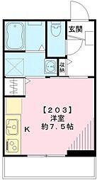 東京都目黒区鷹番2丁目の賃貸アパートの間取り