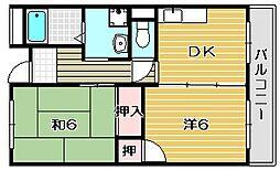 大阪府摂津市鳥飼和道2丁目の賃貸マンションの間取り