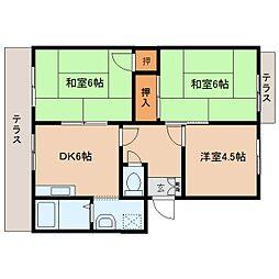 奈良県生駒郡三郷町立野南3丁目の賃貸アパートの間取り