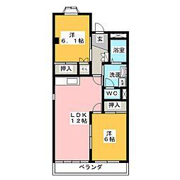 愛知県名古屋市緑区東神の倉3の賃貸マンションの間取り