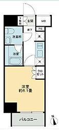 JR山手線 五反田駅 徒歩9分の賃貸マンション 12階1Kの間取り