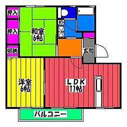 福岡県福岡市博多区東平尾2丁目の賃貸アパートの間取り