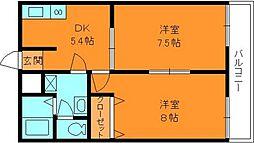 奈良県生駒郡平群町西宮3丁目の賃貸アパートの間取り