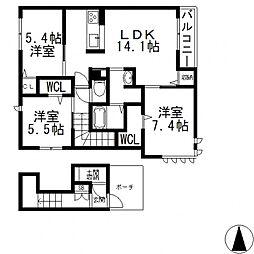 (仮称)東大阪市日下町PJ[201号室号室]の間取り