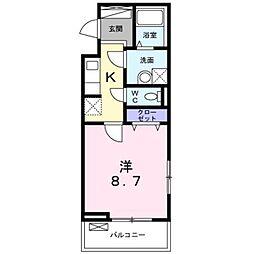 東武東上線 朝霞駅 徒歩10分の賃貸アパート 1階1Kの間取り