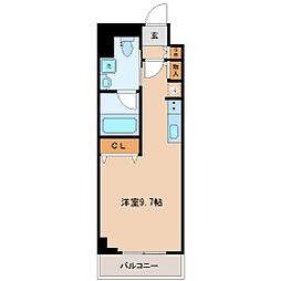 仙台市営南北線 五橋駅 徒歩9分の賃貸マンション 2階ワンルームの間取り