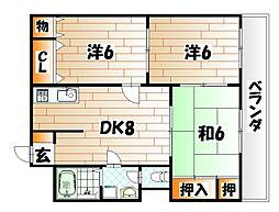 ハッピーエステート八幡駅前[3階]の間取り