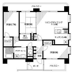 神奈川県厚木市東町の賃貸マンションの間取り