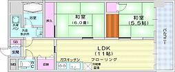 S・コーポラス幸町 3階2LDKの間取り