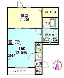 北海道帯広市東九条南9の賃貸アパートの間取り