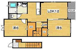 (仮)藤阪元町ペット可能コッティ[2階]の間取り