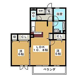 クロシェット 北棟 1〜3号室[2階]の間取り